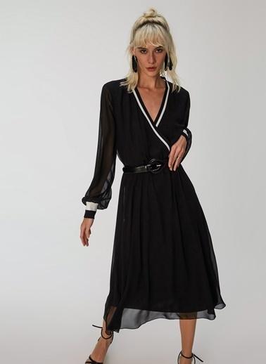 People By Fabrika Triko Bantlı Elbise Siyah